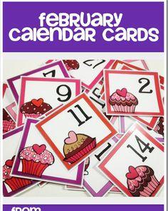 Cute Calendar Cards free from Doodle Bugs Teaching Valentine Calendar, February Calendar, Calendar Time, Kids Calendar, Preschool Calendar, Classroom Calendar, Classroom Ideas, Classroom Labels, Calendar Numbers