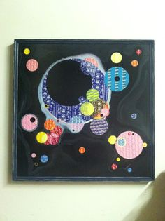 """Kandinsky """"Several Circles"""" recreation """"Several Other Circles""""...mixed wrappers with ink and acrylic on wood."""
