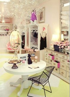 Love the vanity setup and the bubble chandelier!