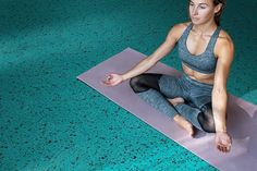 The Opulence Collection provides a stable & comfortable surface for a wide variety of activities, such as yoga! - If you want the the perfect rubber flooring tiles for your studio, contact us for samples! - Opulence: Topaz '504'  #rubberflooring #gymflooring #yogaposes #yogainspiration