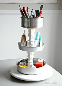Craft Supply Storage Tower with upcycled pans