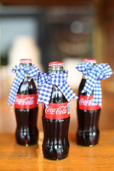 4th of July Idea ...Love it!  Classic Coke With Gingham Bows