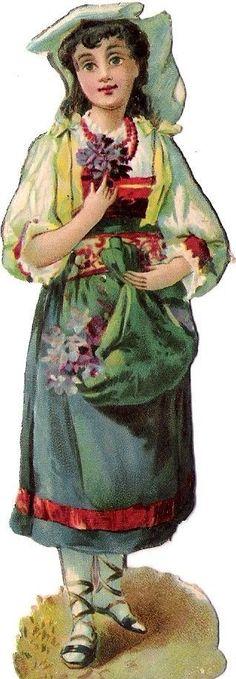 Oblaten Glanzbild scrap die cut chromo Lady Kind child Dame femme Blumen