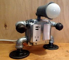 Robot lamp with USB outlet by JosephBarral on Etsy