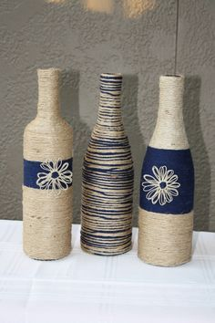 Set of 3 Custom Wrapped Wine Bottles Jute Twine and Yarn. Gorgeous Decor and Gifts. Great for the Fall Season. by DragonflyDaisies on Etsy https://www.etsy.com/listing/204251768/set-of-3-custom-wrapped-wine-bottles