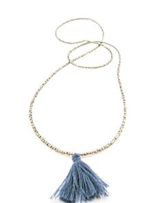The Blue Tassel Necklace by JewelMint.com, $80.00