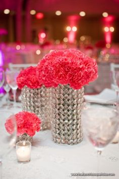 Hot Pink Carnations in Crystal Rhinestone Vases - The French Bouquet - Chris Humphrey Photography Carnation Wedding Bouquet, Carnation Centerpieces, Wedding Centerpieces, Wedding Flowers, Berry Wedding, Centrepieces, Centerpiece Ideas, Floral Centerpieces, Pink And White Weddings