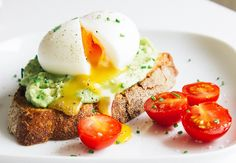 Avocado & Soft-boiled Egg Toasts Recipe Breakfast and Brunch with avocado, heavy cream, soft-boiled egg, bread, pepper, salt, chives