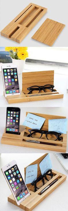 Bamboo Wooden Pen Pencil Holder Stand iPhone iPad Smart Phone Holder Dock NotePad Memo Pad Holder  Wooden Office Desk Organizer