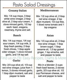 Easy Pasta Salad, Pasta Salad Recipes, Mayonnaise, Salad Dressing Recipes, Pasta Salad Dressings, Vinaigrette Dressing, Easy Dinner Recipes, Yummy Recipes, Dinner Ideas