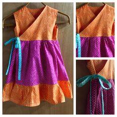Hippie/Boho Polka Dot Wrap Dress, girls size 5 by SewMeems on Etsy
