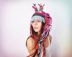 UTHA pinkponk hat   .....pink tribal crochet UTHA... ..shaman style hat with horns......summer festival hat..indie fashion. $159.00, via Etsy.