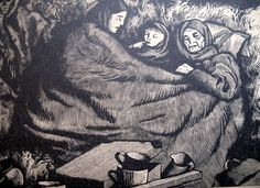 Vintage 40s WWII Print Woodcut Family of REFUGEES POIGNANT!
