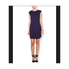 TRINA TURK Purple Stretch Shift Dress Leather Trim Knit Dress Sz 10 via Polyvore featuring trina turk