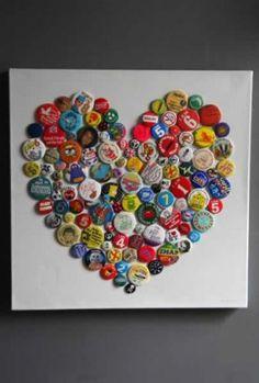 Brigitte Herrod Vintage Button Badge Heart Canvas - Exclusive to RSG - could use bottle caps Beer Cap Art, Beer Bottle Caps, Bottle Cap Art, Beer Caps, Button Art, Button Crafts, Button Badge, Heart Button, Heart Canvas