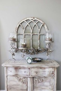 vintage arched window and painted chest: