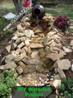 DIY Easy Backyard Waterfall/Pond Design Idea!  I can't believe how easy this was! #DIY #Pond #Backyard #EasyProjects