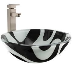 Heptagon Black and White Glass Vessel Sink