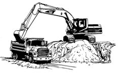 Coloring festival: Cat excavator coloring pages Truck Coloring Pages, Cat Coloring Page, Disney Coloring Pages, Coloring Pages To Print, Free Printable Coloring Pages, Coloring For Kids, Coloring Pages For Kids, Adult Coloring, Ing Civil
