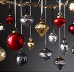 Vintage Handblown Glass Ornament Collection - Silver