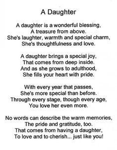 A tribute to all daughters, but in particular my own daughter. She is the sweetest daughter ever.