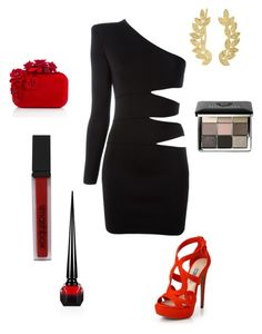 """""""A little black dress and red never let me down! #styledbyvictorio"""" by mvictorio on Polyvore featuring Balmain, Prada, Jimmy Choo, Eddera, Smashbox, Bobbi Brown Cosmetics and Christian Louboutin"""