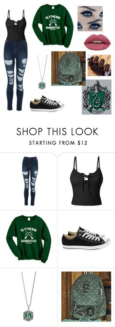 """Normal Slytherin Day"" by airrika on Polyvore featuring LE3NO, Converse and PBteen"