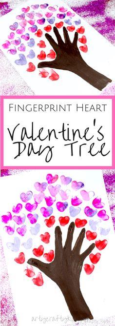 Arty Crafty Kids Valentines Day Crafts for Kids Fingerprint Heart Valentine's Day Tree art for kids Valentine's Day Crafts For Kids, Valentine Crafts For Kids, Valentines Day Activities, Children Crafts, Kids Diy, Valentine Ideas, Baby Crafts, Valentines Ideas For Preschoolers, Crafts Toddlers