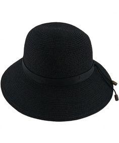 9a13230d0da1 Women's Straw Hat Wide Brim Floppy Sun Hat Beach Summer Travel Sun  Protection Hat Cap Black CJ18598NKDS