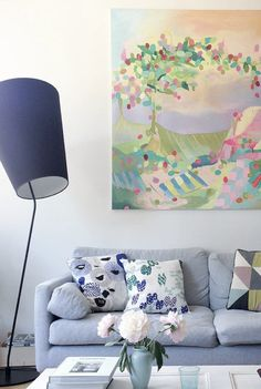 Sitting room in the cheerful home / of Finnish visual artist Saija Starr.