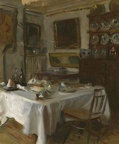 Painted dining room by John Singer Sargent