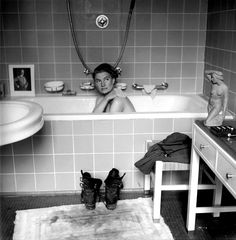 Photographer Lee Miller in Hitler's bathtub. By David Scherman/The LIFE Picture Collection/Getty Images.