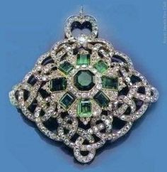 Emerald and diamond brooch -1866 - by Hancocks - formerly in the collection of the Princes Von Thurn Und Taxis