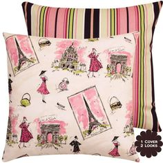 """From Paris with Love and Stripes Collection - Waverly Designer 18"""" Square Boutique Throw Pillow with Insert - Parisian/French Fashion with Stripes - Bubble Gum Pink, Black, Lime and Ivory - 1 Pillow Cover Chloe & Olive http://www.amazon.com/dp/B009560TPG/ref=cm_sw_r_pi_dp_OQTpub07TQFW7"""