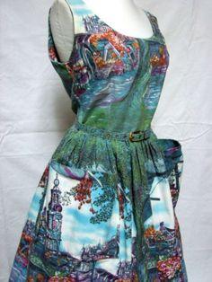 1950s Vintage Fit Flare Cotton Novelty Scenic Print Sundress Dress | eBay