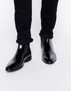 $81, Black Leather Chelsea Boots: Asos Brand Chelsea Boots In Leather. Sold by Asos. Click for more info: https://lookastic.com/men/shop_items/289009/redirect