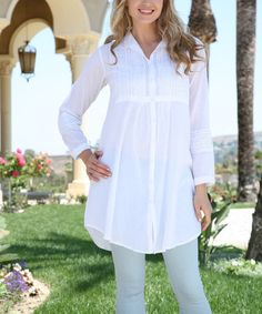 Love this White Pin-Tuck Lace Three-Quarter Sleeve Tunic on #zulily! #zulilyfinds
