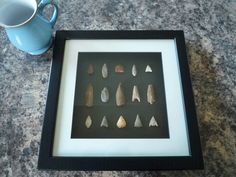 Neolithic Arrowheads in 3D Picture Frame, Authentic Artifacts 4000BC (P002)