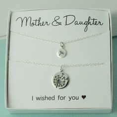 Mother & Daughter Dandelion Necklaces dandelion necklace wish for you twin necklace sterling sil Mother Daughter Jewelry, Mothers Day Gifts From Daughter, Mother Day Gifts, Mom Daughter, Mother Christmas Gifts, Mother Daughters, Mom Gifts, Mother Son, Birthday Wishes For Mom