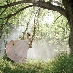 When I was a little girl. In the cool spring air  I would swing high and close my eyes and feel like I was in a beautiful garden. With flowers and a gorgeous pink dress...This is the picture I saw in my dream... great memory!