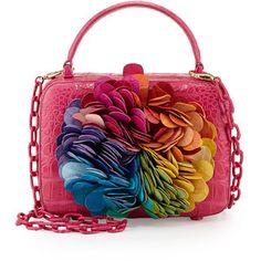 Caja de cocodrilo Nancy González-floral apliques bolsa de embrague