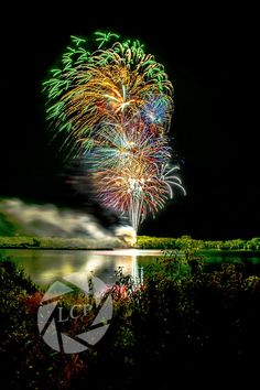 Raccoon River Park, West Des Moines, IA - Fireworks over Blue Heron Lake 5 second exposure during finale.