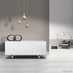 Minimal lacquered sideboard with hinged doors
