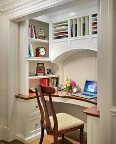 would love a small desk nook of my own in our house one day.