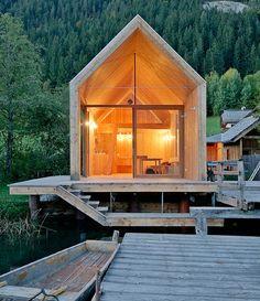 glass-front modern cabin