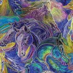 Designer: Marcia Baldwin. 100% Cotton fabric. Paint Horses For Sale, Horse Fabric, Kaleidoscope Quilt, Names Of Artists, Painted Horses, Making Faces, Horse Print, Cotton Quilting Fabric, Beautiful Horses