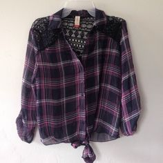 Pink and purple button down blouse/ crop top Thin blouse/ crop top. Brand new never worn No Boundaries Tops Blouses