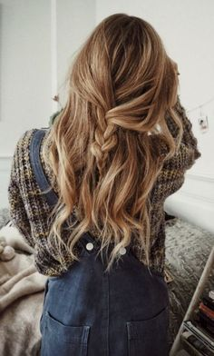 loose half up braid