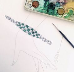 Bangle Bracelets, Bangles, All Gems, Diamond Flower, Gouache, Diamonds, Green, Flowers, Beautiful