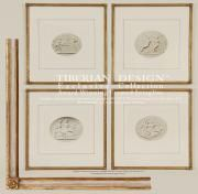 fine framed intaglio prints in a group four from tiberian design